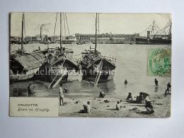 INDIA BHARAT CALCUTTA Kolkata Boat On Hooghly Fisherman AK Old Postcard - India