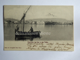 EGITTO EGYPT SUEZ Et Du Tacka Fisherman Boat AK Old Postcard - Suez