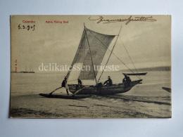 CEYLON SRI LANKA COLOMBO Kolamba Native Fishing Boat Fisherman AK CPA Old Postcard - Sri Lanka (Ceylon)