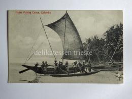 CEYLON SRI LANKA COLOMBO Kolamba Native Fishing Canoe Boat Fisherman AK CPA Old Postcard - Sri Lanka (Ceylon)
