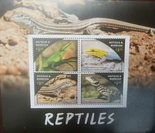 O) 2016 ANTIGUA AND BARBUDA, REPTILES - ANOLIS CAROLINENSIS-LYGDACTYLUS-CNEMIDOPHORUS-SMAUG, SOUVENIR MNH - Antigua And Barbuda (1981-...)