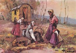 En Provence Campement De Gitans - Fabrication Panier Métier Vannerie Roulotte Romanichels Gens Du Voyage - H Barry - Marchands Ambulants