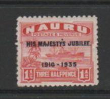 NAURU    1935    Silver  Jubilee    1 1/2d  Scarlet    MH - Nauru