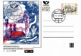 Czech Republic - 2018 - International Stamp Fair In Munich - Special Postcard With Postmark And Hologram - Postwaardestukken