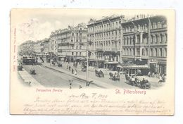 RU 190000 SANKT PETERSBURG, Nevsky Prospect 1900, Belebte Szene, Relief-Karte - Geprägt / Embossed - Russland