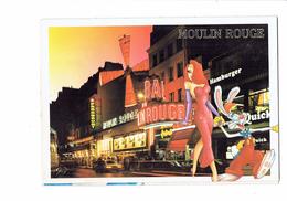 Cpsm Collection DISNEY-PARIS Montmartre La Nuit MOULIN ROUGE Cinéma Roger Rabbit Jessica Lapin Pin'up Quick HAMBURGER - Disneyland