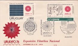 FDC. URUEXPO '74, EXPO FILATELICA NACIONAL. 250 AÑOS FORTIFICACION MONTEVIDEO. URUGUAY.-TBE-BLEUP - Expositions Philatéliques