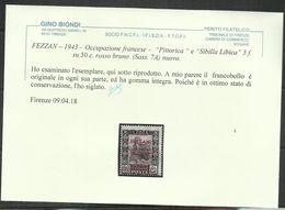 FEZZAN LIBYA 1943 PITTORICA DI LIBIA SOPRASTAMPA ROSSO BRUNO SURCHARGE  SURCHERGE 5f SU CENT. 50c MNH CERTIFICATO - Fezzan & Ghadames