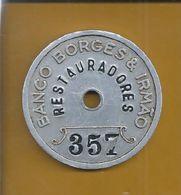 Chapa De Aluminio Do Banco Borges & Irmão,balcão Restauradores,Lisboa.Usada Anos 50.Plate Banco Borges & Irmão.Very Rare - Elongated Coins