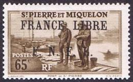 Port De Saint-Pierre 0,65Fr  Surchargé «FRANCE LIBRE / F.N.F.L.»  Yv 259 * - St.Pierre & Miquelon