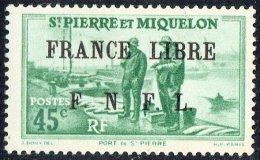 Port De St-Pierre   0,45fr  Surchargé «France Libre/ F.N.F.L.»  Yv 256  * MH - St.Pedro Y Miquelon