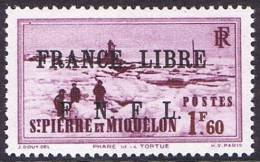 Phare De La Tortue 1,60Fr Surchargé «FRANCE LIBRE / F.N.F.L.»  Yv 267 * - St.Pedro Y Miquelon