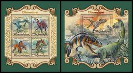 MOZAMBIQUE 2018 - Dinosaurs. M/S + S/S. Official Issue - Préhistoriques