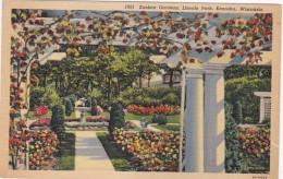 Wisconsin Kenosha Sunken Gardens In Lincoln Park 1938 Curteich - Kenosha