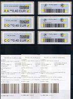 6 ATMs,NABUCCO, ECOPLI, LETTRE VERTE, PRIO, SUIVIES CC 0.40/DD 0.40€/ AA0.40€, AVEC LES 3 STICKERS ET PREUVES DE DEPOTS, - 2010-... Geïllustreerde Frankeervignetten