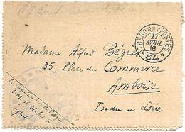 CM 67  Correspondance Militaire Du 27-04-16 Cachet Trésor Et Postes Double Cercle N°(SP)54 16ème Division D'Infanterie - Marcofilie (Brieven)