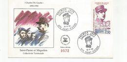 Enveloppe 1er Jour Du 19 Juin 1990 FDC Charles De Gaulle - St Pierre Et Miquelon  Edition Officielle N° 0572 - FDC