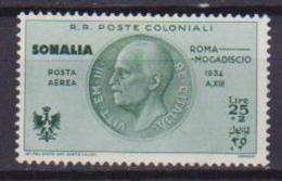 COLONIE ITALIANE  SOMALIA 1934 POSTA AEREA  VOLO ROMA-MOGADISCIO SASS. 16 MLH VF - Somalia