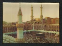 Saudi Arabia 3 D Picture Postcard Holy Mosque Ka'aba Mecca Islamic Plastic View Card - Saudi Arabia