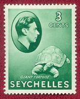Seychelles 1938 - 1949 GVI 3c Green Giant Tortoise MH SG136 - Seychellen (...-1976)