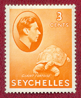 Seychelles 1938 - 1949 GVI 3c Orange Giant Tortoise MH - Seychellen (...-1976)