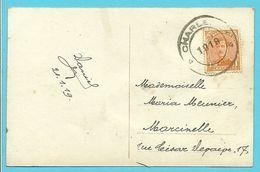 135 Op Kaart Met Dubbelringstempel Van 1919 Van CHARLEROY 4 !!! (noodstempel) - 1915-1920 Alberto I