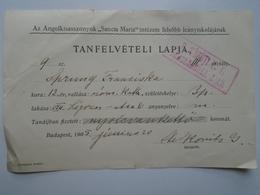 D157175 Hungary Angolkisasszonyok Sancta Maria Institut - Sprung Franciska - Annual Fee Frais Annuels -1905 - Invoices & Commercial Documents