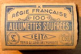 GROSSE BOITE D'ALLUMETTE REGIS FRANCAISE 100 ALLUMETTES SOUFREES SEITA 1F60 TENIR A L'ABRI DE L'HUMIDITE - Boites D'allumettes
