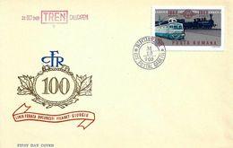 1969 - LOCOMOTIVE - CENTENNIAL OF THE FIRST TRAIN LINE BUCHAREST - GIURGIU - FDC