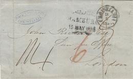"""1858- Letter From Copenhagen To London - Several Rating - """" Via Ostende """" - 1851-63 (Frederik VII)"""