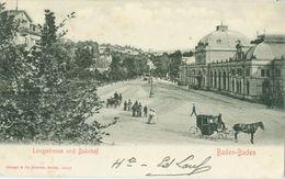 Baden-Baden 1903; Langstrasse Und Bahnhof - Gelaufen. (Stengel & Co., Dresden-Berlin) - Baden-Baden