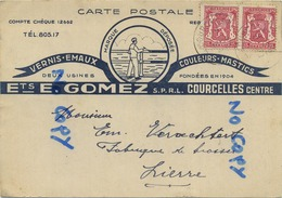 Courcelles : Ets. E. Gomez : Vernis-emaux-couleurs-mastics     ( Carte Reclame ) - Courcelles