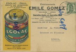 Courcelles : Emile Gomez : Couleurs - Vernis ( Carte Reclame 1937 )    Lier :  Brosses Et Pinceaux - Courcelles