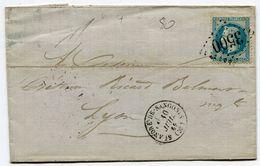HERAULT De SAINT ANDRE DE SANGONIS LAC Du 10/07/1869 Avec N°29 Oblitéré GC 3500 - Postmark Collection (Covers)