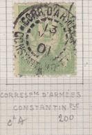 France, Yvert N° 102 Oblitéré Correspondance D'armées Constantinople En 1901 - Marcophilie (Timbres Détachés)