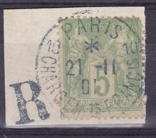 France, Yvert N° 102 Oblitéré Càd Bleu Paris 10 Chargements Franc Is De 1901 Sur Petit Fragment - Marcophilie (Timbres Détachés)