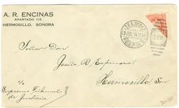 1914 Mexico Cover Bisect Transitorio Stamp E.U.M. Duplex, Hermosillo, Sonora - Mexico
