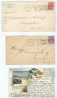 Canada Flag Postmark Lot (9 Items) 1898-1900. Toronto/Montreal/Hamilton With Letter Codes - Postal History