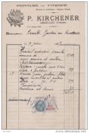 P.Kirchener :Peinture - Vitrerie. Chailley (Yonne).Timbre Fiscal:10f. - Petits Métiers