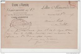 Lettre Memorandum:Usine à Vapeur Vinceneau.Distillateurs-Liquoristes.Carcassonne. - Alimentaire