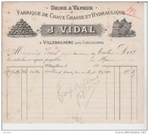 Usine à Vapeur. Fabrique De Chaux Grasse Et Hydraulique. J.Vidal à Villegailhenc Près Carcassonne. - Autres