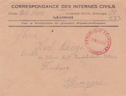 FRANCE - Lettre De Correspondance Internés Civils De La Guerre 1914/18 à ILE-LONGUE (Finistère) Pour L'Allemagne - Marcofilia (sobres)