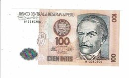Banco Central De Reserva Del Peru Cien Intis Banque Pérou Cent Intis Ramon Castilla Filature - Peru