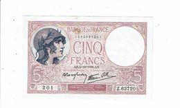 Banque De France Billet Cinq 5 Francs Type Violet 201 Z 63720 Deloche Marin - 5 F 1917-1940 ''Violet''