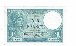 Banque De France Billet Dix 10 Francs Type Minerve 1939 - 882 A 71095 Femme Fenaison - 1871-1952 Anciens Francs Circulés Au XXème