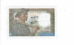 Banque De France Billet Dix 10 Francs Type Mineur 1942 - F17 98660 Femme Bébé Boeufs - 1871-1952 Anciens Francs Circulés Au XXème