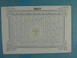 Calendrier (porcelaine) De 1847 Mons Hôtel De La Couronne - Calendars