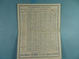 Calendrier De 1912 Magasins A L'Economie La Louvière - Calendars