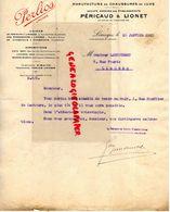 87- LIMOGES- FACTURE PERICAUD LIONET- MANUFACTURE CHAUSSURES LUXE- PERLIOS- 2 RUE GOUFFIER DE LASTOURS-A LAUCOURNET-1927 - Textile & Vestimentaire