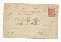 Sur Carte Postal , ENTIER POSTAL ,  PARIS BEAUMARCHAIS , 1903 , 2 Scans , 10 , Droits De L'homme - Entiers Postaux